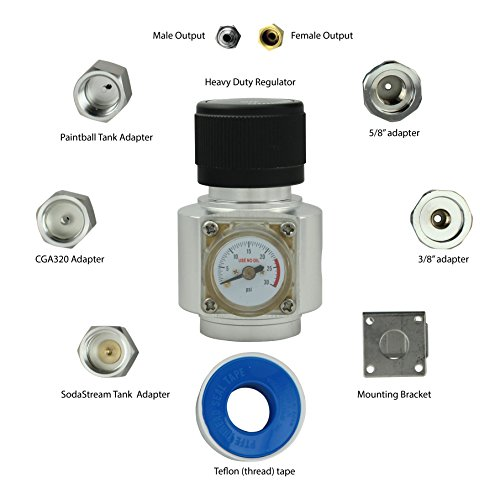 - Ultimate CO2 Regulator works with 5 types of CO2 tanks (0-25psi)