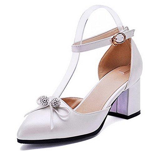 AgooLar Damen Schnalle Mittler Absatz PU Eingelegt Spitz Zehe Pumps Schuhe Weiß