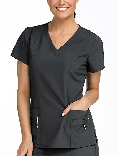 Med Couture Women's 'Activate' in-Motion Scrub Top, Pewter, Small from Med Couture