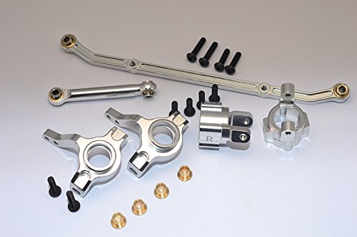 (Axial SCX10 Upgrade Parts Aluminum Front C-Hub & Front Knuckle Arm (Toe-In 5 Degree) & SCX160 Tie Rod - 6Pcs Set Silver)