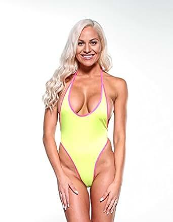 Amazon.com: Bitsy's Bikinis Neon Yellow Sexy Monokini One