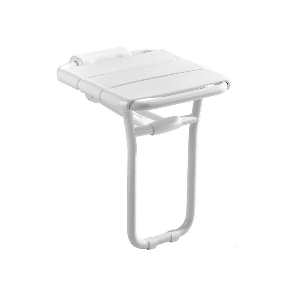 Beauty Shower Bench, Folding Bath Stool Bathroom Leg Seat Elderly Bath Wall Chair, Painted Steel Pipe, Rust and Pressure Resistance (Color : White) by BEAUTY--shower stool