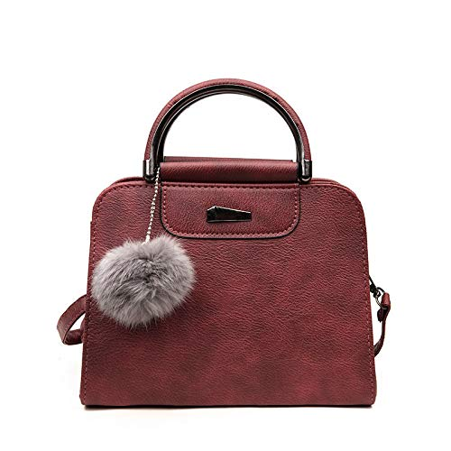 - Toponly Simple Top-Handle Bags Solid Hair Ball Simple Bucket Messenger Handbag Crossbody Shoulder Bags