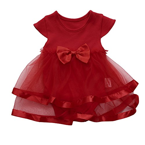 WOCACHI Toddler Baby Dresses, Baby Girls Infant Birthday Tutu Bow Clothes Party Jumpsuit Princess Romper Dress Infant Bodysuits Rompers Clothing Sets Christening Short Long Sleeve Organic Cotton]()