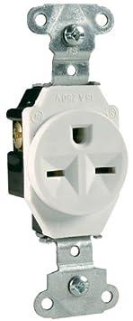 White Pass /& Seymour//Legrand Legrand-Pass /& Seymour Heavy-Duty Spec Grade Single Receptacle Side Wire 20amp 250volt 5851WCC8