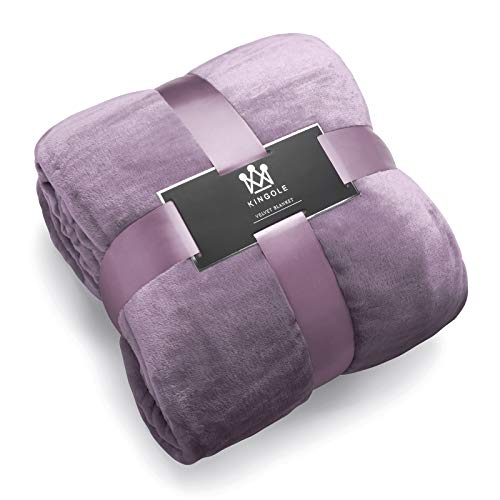 Kingole Flannel Fleece Microfiber Throw Blanket, Luxury Lavender Purple King Size Lightweight Cozy Couch Bed Super Soft and Warm Plush Solid Color 350GSM (108