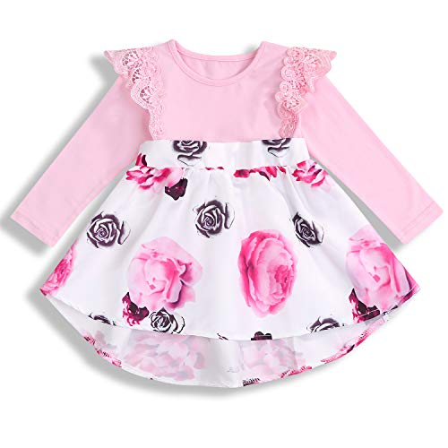 Sleeve Knitted Dress - HAPPYMA Infant Baby Girl Floral Dress Ruffle Skirts Flutter Sleeve Summer Outfits