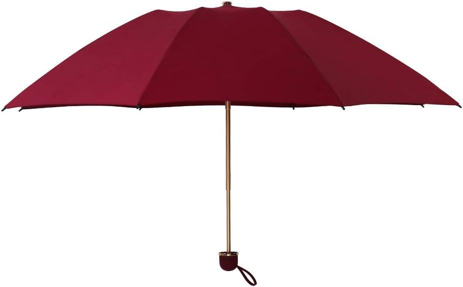 雨の微笑み 「超ナノ疎水性 3つ折り旅行用雨の日傘 速乾 紫外線対策 防風 軽量デザイン 女性/男性/彼女へのギフトに ワインレッド
