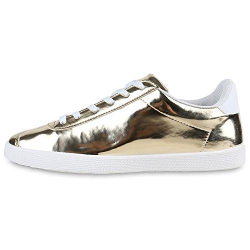 Stiefelparadies Damen Sneaker Low Basic Flandell Gold Lack