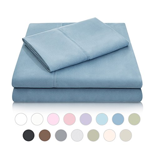 MALOUF Double Brushed Microfiber Super Soft Luxury Bed Sheet Set - Wrinkle Resistant - Split Queen Size - Pacific (Mattresses Split Queen)