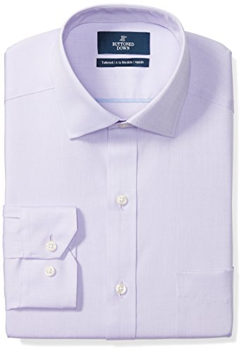 (BUTTONED DOWN Men's Tailored Fit Spread-Collar Solid Non-Iron Dress Shirt (Pocket), Purple, 15.5
