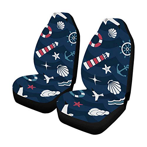 INTERESTPRINT Seashell Seagull Bird Lighthouse Lifebuoy Starfish Anchor and Ocean Waves Front Car Seat Covers Set of 2, Car Front Seat Cushion Fit Car, Truck, SUV or Van
