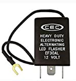 CEC Industries EF30AL Electronic Wig-Wag Alternating Flasher Relay, LED Compatible, 3 + Ground Wire Prongs, 12 Volts