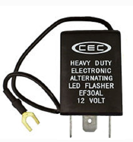 Price comparison product image CEC Industries EF30AL Electronic Wig-Wag Alternating Flasher Relay,  LED Compatible,  3 + Ground Wire Prongs,  12 Volts