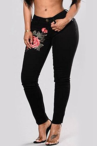 Noir Pants Slim Collants Crayon Pantalon Leggings Broderie Jeans WanYang Femmes Denim Jeans WznAaxP