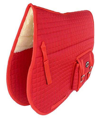 CHALLENGER Horse Quilted English Saddle PAD Trail Australian Dressage Pockets Fur RED 72115