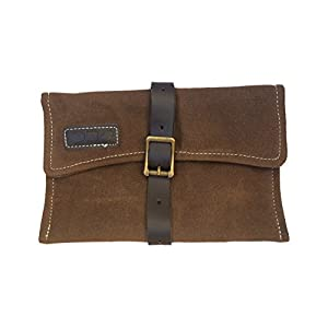 41lcAYuAJxL. SS300  - Handmade Waxed Canvas Bicycle Saddle Bag - OB8 Vintage Tool Roll with Leather Strap