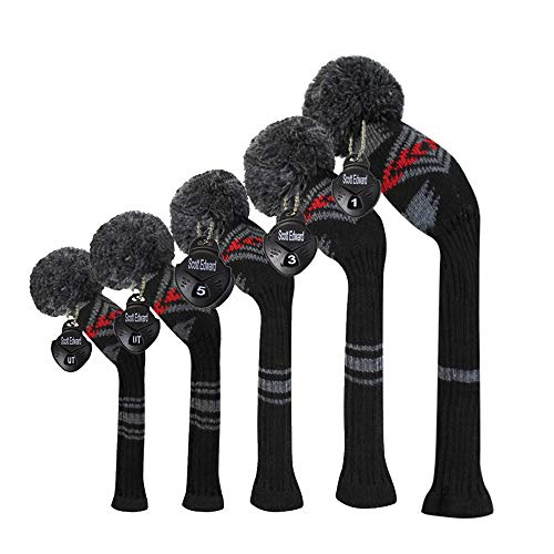 Scott Edward Abstract Pattern Dark Color Golf Headcover Set of 5 PCS, Driver Wood Cover1, Fairway Wood Cover2, Hybrid Cover 2, with Rotating Number Tags.