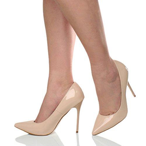 chaussures Cuir Ajvani élégante fête taille travail talon de pointue escarpins Femmes Nude haut 8BA87R