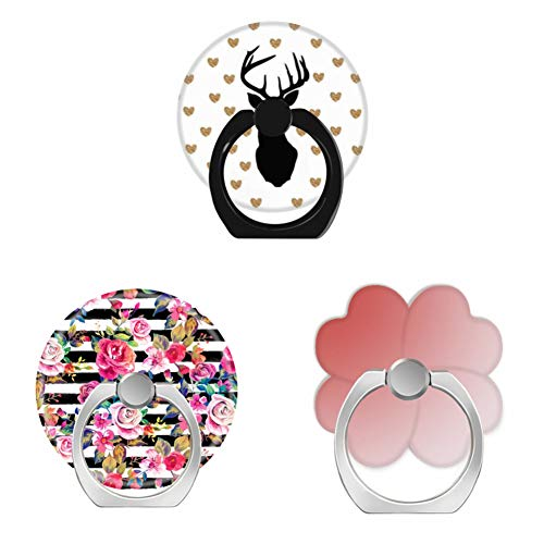 (Bsxeos 360°Rotation Cell Phone Ring Holder Finger Stand with Car Mount Work for All Smartphones and Tablets-cute spring floral and stripes watercolor-dark terra cotta candy pink pale-deer gold(3 pack))