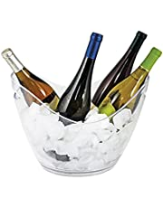"""True Ice Bucket Holder Chilling Tub for Indoor and Outdoor Use Holds 4 Wine Bottles, 10.25"""", Clear"""