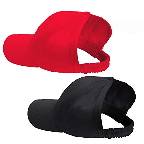 ZOORON Ponytail Natural Curly Afro Hair Backless Baseball Sun Hat Cap for Women (2 Packs-Black&Red)