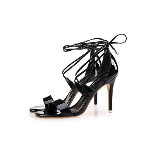 GRRONG Sandalias De Mujer Zapatos De Tacón Alto Cabeza Cuadrada Palabra Con Sandalias Ahuecan Black