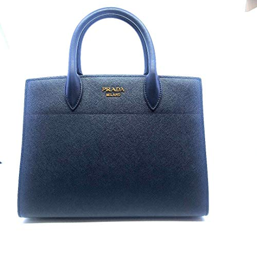 (Prada Womens Saffiano Leather, City Baltico, Navy and White Handbag Bibliotec 1BA049)
