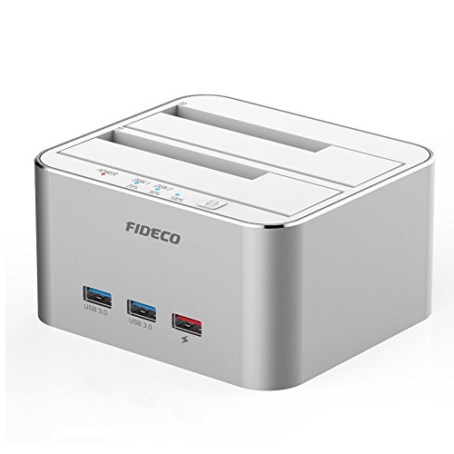 Hard Drive Docking Station, FIDECO Aluminum USB 3.0 to SATA External HDD Dual Bay Dock with 3-Port Hub, Offline Clone Function for 2.5/3.5 Inch HDD SSD up to 2 x 10TB(Silver)