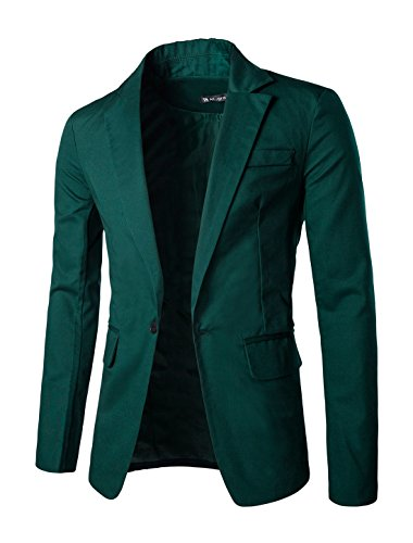 Allegra K Mens Notched Lapel One Button Closure Casual Blazer Dark Green (Button Closure Blazer)