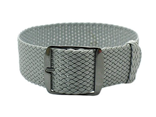 HNS 20mm Grey Perlon Tropic Braided Woven Watch Strap with PVD Buckle