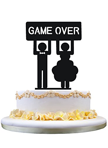 Bride and Groom with GAME OVER silhouette cake topper cake stand ()