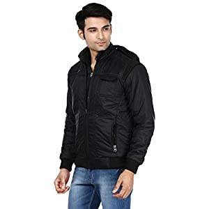 Ico Blue Stor Men's Polyester Full Sleeve Solid Jacket (Divider_Black_38)