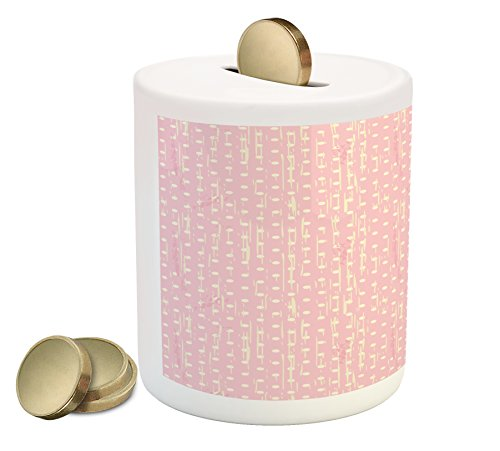 Grunge Piggy Bank by Lunarable, Romantic 60s 50s Retro Pop Art Inspired Polka Dots on Abstract Backdrop, Printed Ceramic Coin Bank Money Box for Cash Saving, Pale Pink and - 50s Grunge
