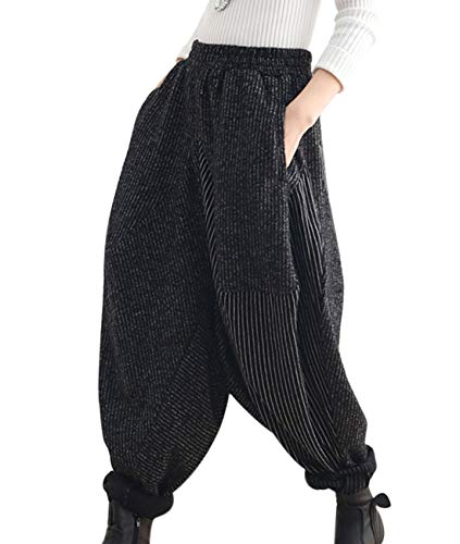 YESNO PGY Women Fashion Casual Hippie Harem Pants Wool Blend Striped Stitched Elastic Waist Drop Crotch/Pockets (L, Black Stripe/Black Stripe)