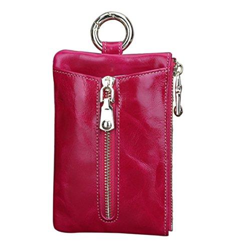 Genda 2Archer Unisexo Cartera de cuero Clave de caso Holder tarjetas de crédito nota monedero (vino rojo) Rosa roja