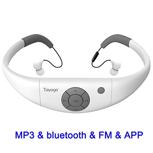 - Tayogo 8GB Waterproof MP3 Player, Bluetooth Swimming Waterproof Headset Underwater 10FT with Shuffle Feature, Support FM APP Flash Drive - White