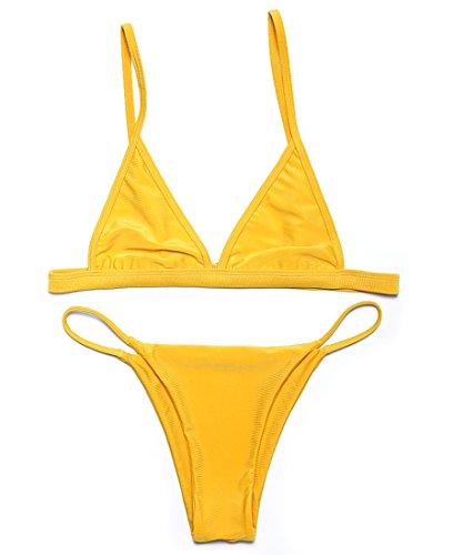 RELTANGL Women's 2 Pcs Bikini Triangle Top Brazilian Bottom Swimwear Bikini Set(Yellow, M(US 4-6))