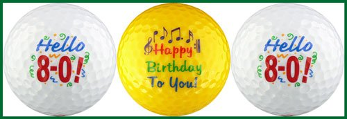 Hello! Eighty Birthday Golf Ball Gift Set by EnjoyLife Inc