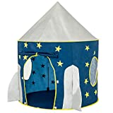 FoxPrint - Tienda de campaña para niños, diseño de Cohete con temática Espacial, Tienda de Juegos espaciales, Plegable, Color Azul