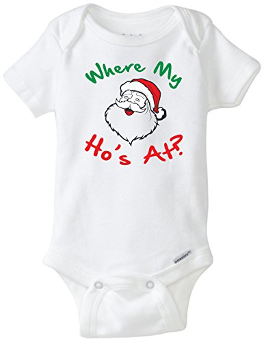 (BLAKENREAG Where My Ho's at? Christmas Holiday Funny Baby Onesie Boy Girl Clothes Bodysuit (Newborn))