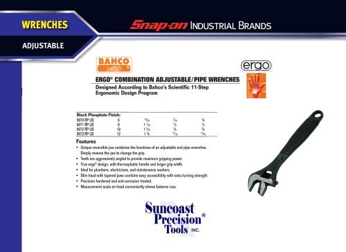 Bahco Black Adjustable Wrench Ergo 10