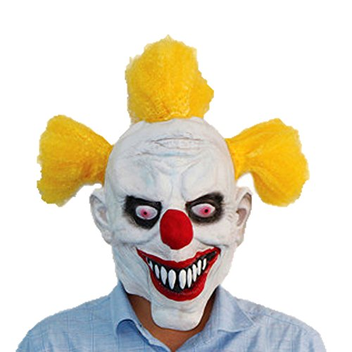 [XIAO MO GU Latex Halloween Party Cosplay Face Mask Clown Costumes Mask(Yellow Hair)] (Slutty Christmas Costumes)