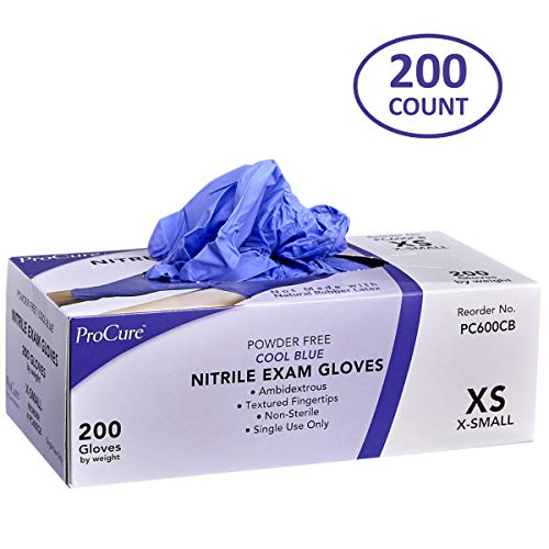 (ProCure Disposable Nitrile Gloves - Powder Free, Rubber Latex Free, Medical Exam Grade, Non Sterile, Ambidextrous - Soft with Textured Tips - Cool Blue (X-Small, 1 Pack, 200 Count))