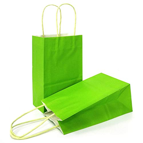 AZOWA Gift Bags Light Green Kraft Paper Bags With Handles Party Supplies Set OF 25 (Green Paper Favor Bags)