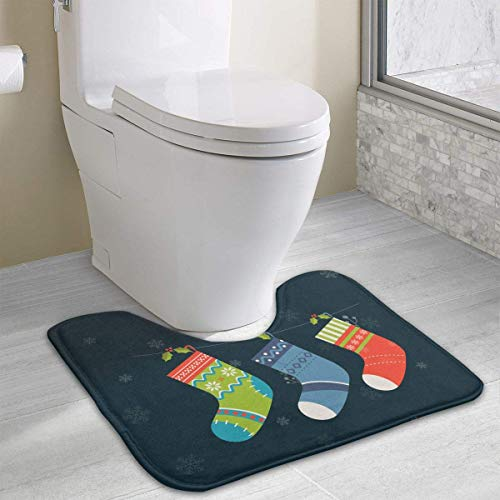 Dealbert Christmas Tree Socks Contour Bath Rugs,U-Shaped Bath Mats,Soft Memory Foam Bathroom Carpet,Nonslip Toilet Floor Mat 19.2″x15.7″