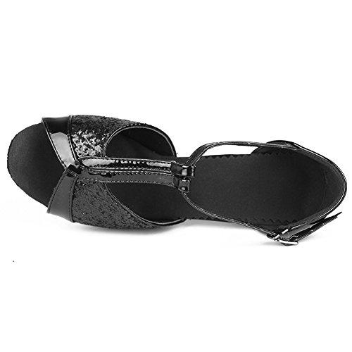 Latin Ballroom Black Modern Standard Dance 7CM 259 Samba HROYL Sequins Chacha Shoes S7 Women's EwOWqSaSz