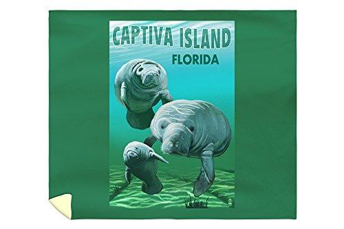 Lantern Press Captiva Island, Florida - Manatees 46690 (88x104 King Microfiber Duvet Cover)