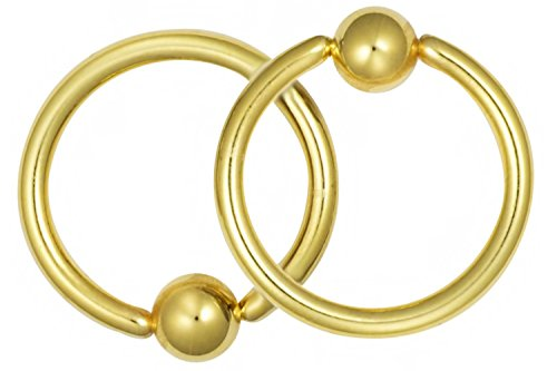 Put Captive Bead Ring (Pair of 2 Rings: 16g 7/16 Inch (11 mm) 316L Surgical Steel Gold IP Plated Captive Bead CBR Hoop Rings)