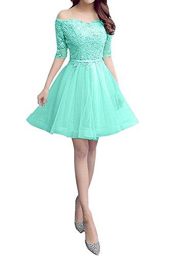 Abendkleider Braut mia Abschlussballkleider Damen Hell Mini Langarm La Minze Gruen Spitze Kurz Cocktailkleider qp5xnY